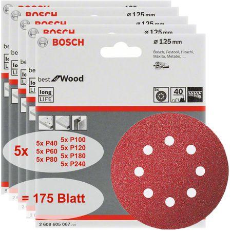Bosch Schleifblatt Set Best for Wood 175 Stück Körnungen P40 + P60 + P80 + P100 + P120 + P180 + P240, 8 Löcher, Klett, 125 mm