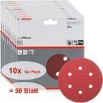 Bosch Schleifblatt Set Best for Wood, 50 Stück, 6 Löcher, Klett, 150 mm, Körnung P40 001