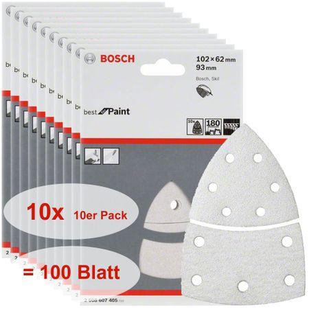 Bosch Schleifblatt Best for Paint, 100 Stück, 102 x 62, 93 mm, Körnung P180