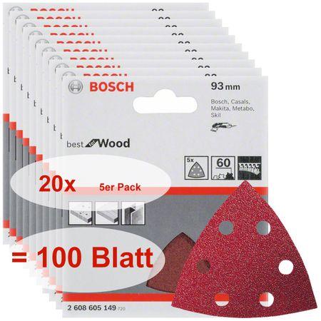 Bosch Schleifblatt Best for Wood, 100 Stück, 93 mm, 6 Löcher, Körnung P60