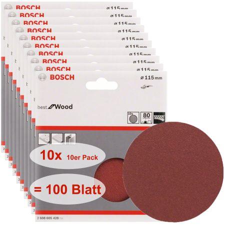 Bosch Schleifblatt, Best for Wood, 100 Stück, 115mm, ungelocht, Klett, Körnung P80
