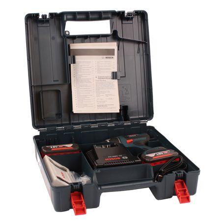 Bosch Akku-Bohrschrauber GSR18V-Li mit 2x 4,0AH und Lader AL1860CV + Bitsatz 25-tlg. im Handwerkerkoffer – Bild 3