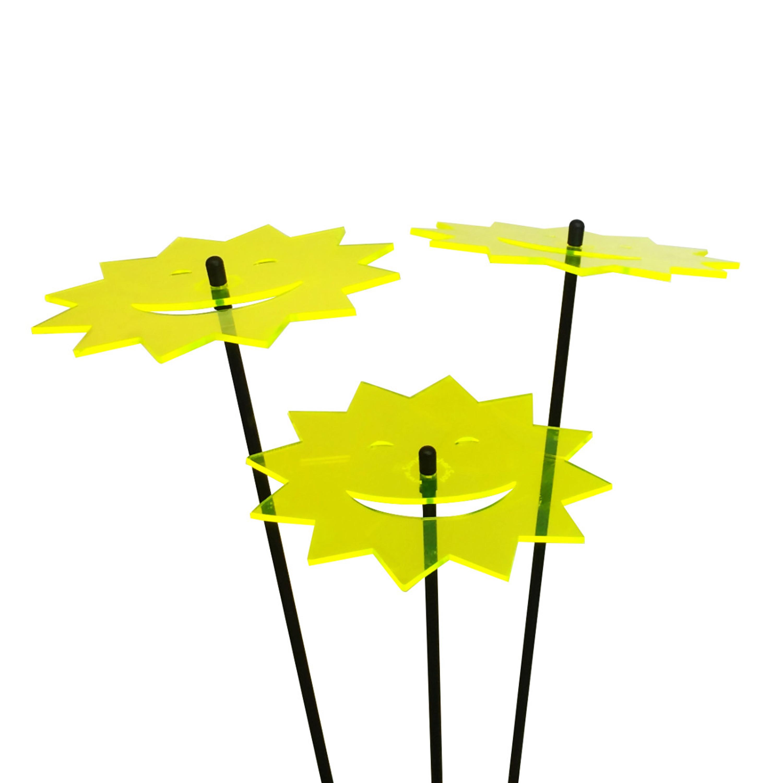 Details about  /SunCatcher Set of 3 /'Pumpkins/' fluorescent glowing Halloween garden stake pot