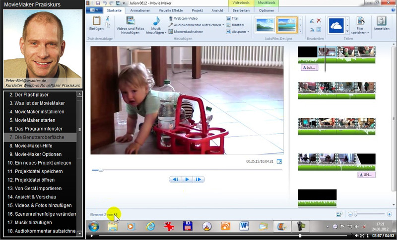 Windows 7/8/10 MovieMaker Praxiskurs – Bild 3