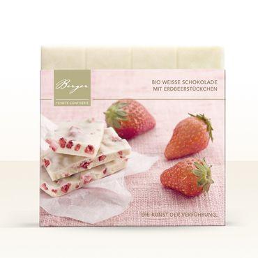 Berger Bio Weisse Schokolade mit Erdbeerstückchen, 90 g – Bild 1