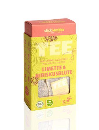 Naturbelassener Bio-Früchtetee Limette & Hibiskusblüte 12 x 2,5 g  Bio – Bild 1
