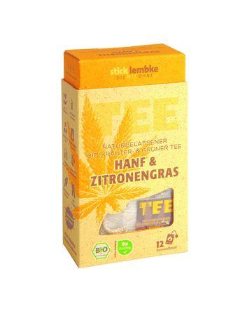Naturbelassener Bio-Kräuter-& Grüner Tee Hanf & Zitronengras 12 x 2 g  Bio – Bild 1