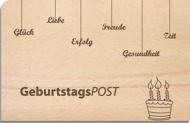 "Postkarte aus Holz ""Geburtstagspost"""