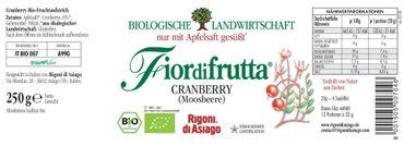 Fiordifrutta Cranberry (Moosbeere) Aufstrich, 250 g, Bio – Bild 2