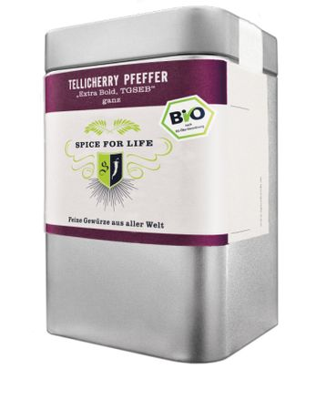 Tellicherry Pfeffer - Black Balls of Fire (ganz), Bio -  Dose 90 g – Bild 1