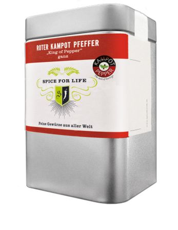 Roter Kampot Pfeffer - The King of Pepper (ganz) Dose 60 g – Bild 1