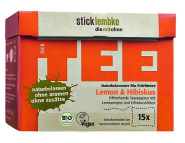 Naturbelassener Bio  Früchtetee Lemon & Hibiskus Teeschönheiten 15 x 2,5 g , Bio – Bild 1