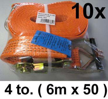 10 x Ratschen-Zurrgurt 6m x 50mm 4 to Spitzhaken Ratsche Spanngurt Anhänger 4000