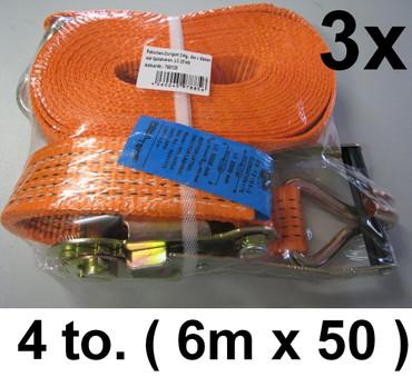 3 x Ratschen-Zurrgurt 6m x 50mm 4 to Spitzhaken Ratsche Spanngurt Anhänger 4000