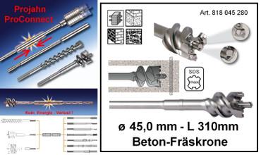 Projahn PROConnect Beton-Fräskrone ø 45 x 310 SDS-Max alle Bohrhammer 818045280 – Bild 1