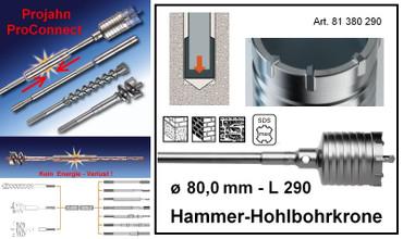 Projahn PROConnect Hammer-Hohlbohrkrone ø 80 x 290 mm SDS-max Bohrkrone 81380290 – Bild 1