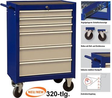 Werkzeugwagen 320 gefüllt bestückt Werkstattwagen Rollwagen 4901-541 Projahn ECO – Bild 1