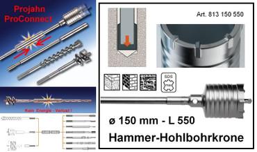 Projahn PROConnect Hammer-Hohlbohrkrone ø 150 x 550 SDS-max Bohrkrone 813150550 – Bild 1
