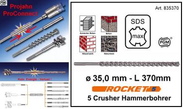 Projahn PROConnect Hammerbohrer 35 x 370 SDS-Max ROCKET 5 Crusher BETON armiert  – Bild 1