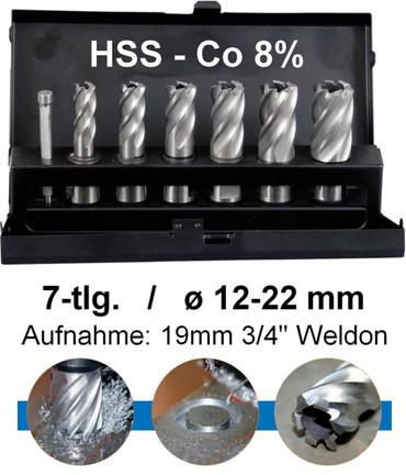 "Projahn Vollschliff 7-tlg Kernbohrer Satz HSS-Co 8% Bohrer 30mm Schnittiefe 3/4"""