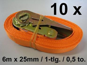 10 x Ratschen-Zurrgurt 6m x 25mm 0,5to 1-tlg. 500 daN Ratsche Zurrgurt Spanngurt