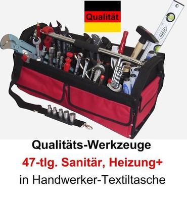 PREMIUM Qualität Werkzeug 47 tlg Werkzeugtasche Sanitär, Heizung + Textiltasche  – Bild 1