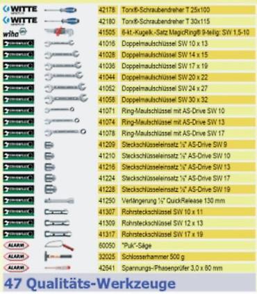 PREMIUM Qualität Werkzeug 47 tlg Werkzeugtasche Sanitär, Heizung + Textiltasche  – Bild 3