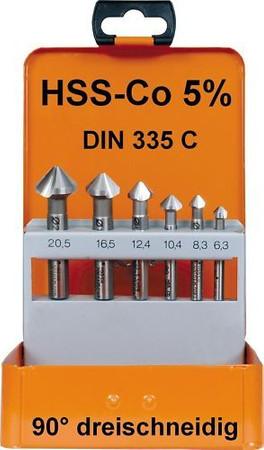 6 x Kegelsenker Set 90° HSS-Co 5% DIN 335 C dreischneidig Cobalt Kegelsenkersatz