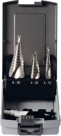 3x Projahn Stufenbohrer-Satz HSS-Co 5% in Gr.1 4-12 in Gr.2 6-20 in Gr.3 6-30 mm Schälbohrer Senker Fräser – Bild 1