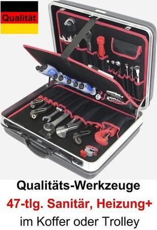 PREMIUM Qualität Werkzeug 47 tlg Werkzeugkoffer Sanitär Heizung + Koffer Trolley – Bild 1