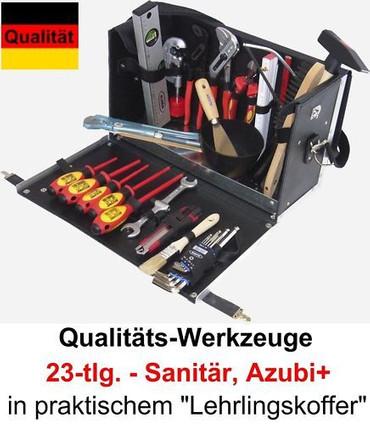 PREMIUM Werkzeug 23 tlg Werkzeugkoffer Lehrling Sanitär AZUBI+ Ledertasche Leder – Bild 1