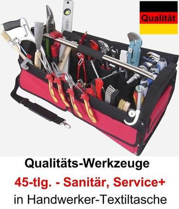 PREMIUM Qualität Werkzeug 45 tlg. Werkzeugtasche Sanitär Service Tasche Textil – Bild 1
