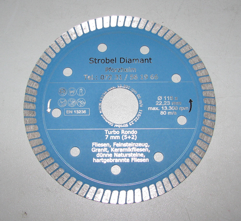 125 Mm Feinsteinzeug Porzellan Diamanttrennscheibe Fliese Turbo-Profi Ø 115