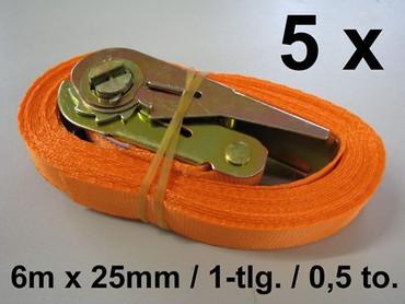5 x Ratschen-Zurrgurt 6 m x 25mm 0,5to Ratsche Zurrgurt Spanngurt Anhänger 500