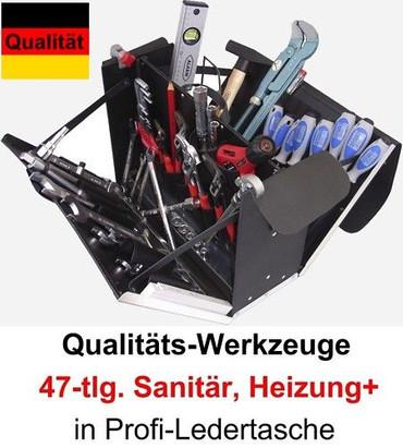 PREMIUM Qualität Werkzeug 47 tlg. Werkzeugtasche Sanitär, Heizung + Leder Koffer – Bild 1