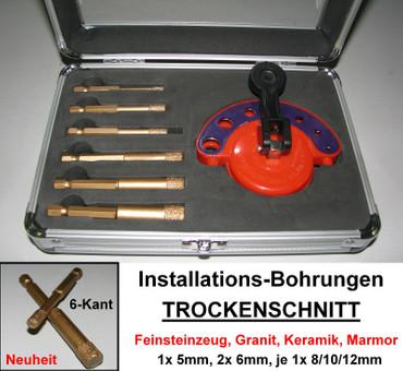 Diamant Trockenbohrer Set 7 tlg. SANITÄR 5-12mm Bohrer Fliese Satz Fliesenbohrer – Bild 1