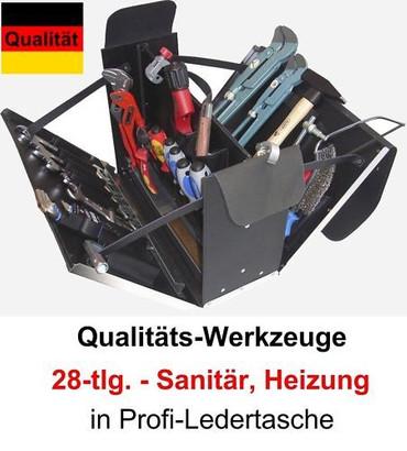 PREMIUM Qualität Werkzeug 28 tlg. Werkzeugkoffer Sanitär Heizung Leder Tasche – Bild 1