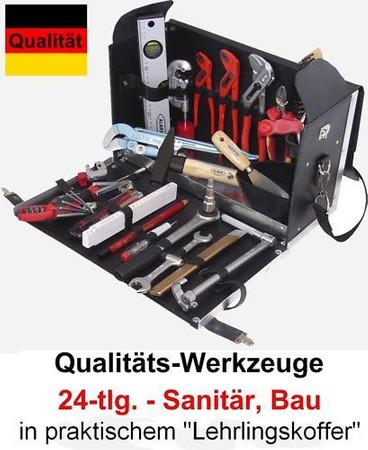 PREMIUM Qualität Werkzeug 24 tlg. Werkzeugkoffer AZUBI Sanitär BAU Ledertasche – Bild 1