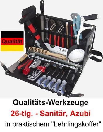 PREMIUM Qualität Werkzeug 26 tlg Werkzeugkoffer Leder AZUBI Sanitär Lederkoffer – Bild 1