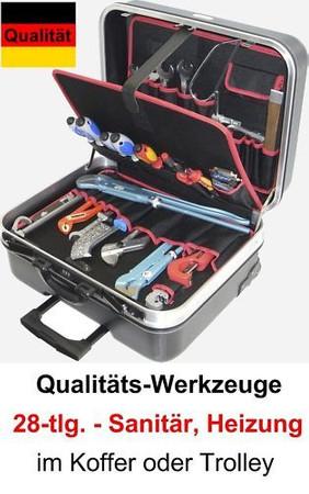 PREMIUM Qualität Werkzeug 28 tlg. Werkzeugkoffer Sanitär Heizung Koffer Trolley – Bild 1