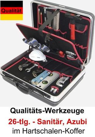 PREMIUM Qualität Werkzeug 26 tlg. Werkzeugkoffer AZUBI Sanitär Koffer Lehrling – Bild 1