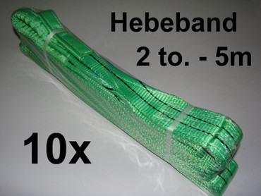 10 x Hebeband 2 to 5m Hebegurt 2-lagig 2000 kg Hebeschlinge Hebeband Krangurt