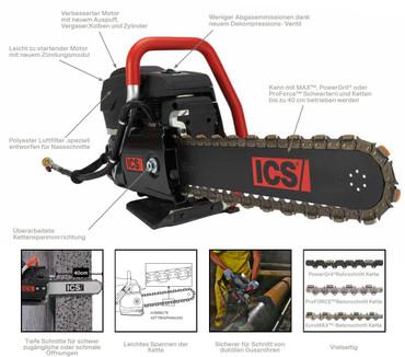 Benzinsägekopf ICS 695 XL GC Benzin-Kettensäge ohne Kette + Schwert Diamantsäge – Bild 6