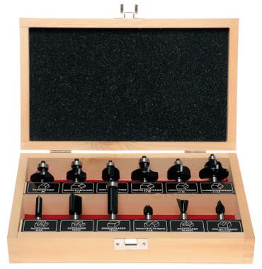 Projahn Oberfräser-Set, 12-tlg. Universal Fasenfräser Nutfräser Hohlkegelfräser – Bild 1
