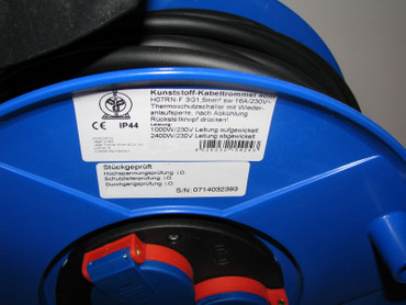 PROFI Kunststoff Kabeltrommel 40 m Kabel H07RN-F 3G1,5 mm schwarz IP44 Thermo – Bild 2