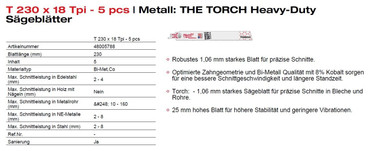 5x Milwaukee Säbelsägeblatt THE TORCH Metall 150 + 230 1,4 1,8 n.Wahl Säbelsäge – Bild 3