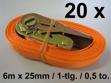 20 x Ratschen-Zurrgurt 6m x 25mm 0,5to 1-tlg. 500 daN Ratsche Zurrgurt Spanngurt