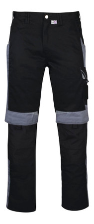 PKA Bundhose Arbeitshose BESTWORK NEW schwarz / grau Hose flexibel Gummiband – Bild 1