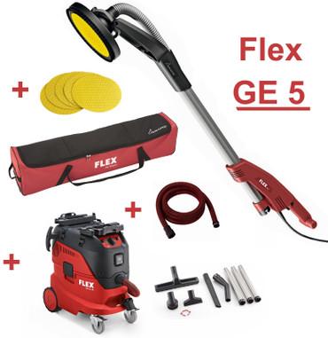 Flex GE 5 Giraffe + Staubsauger VCE 44 L AC Set + Tasche TB-L Saugschlauch, Schleifpapier K100 Langhalsschleifer – Bild 1