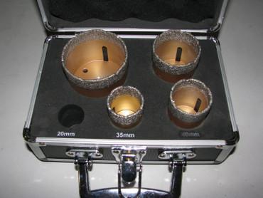 Diamantbohrer Fliesenbohrer-Koffer 4-tlg. M 14 Fliesen 35 40 50 68 Feinsteinzeug – Bild 1